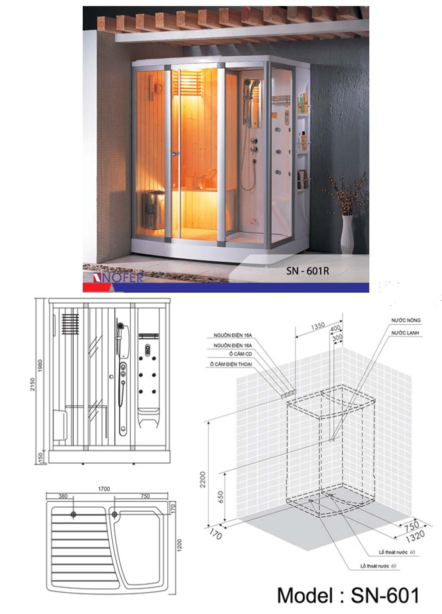 Bảng vẽ kỹ thuật phòng xông hơi SN-601