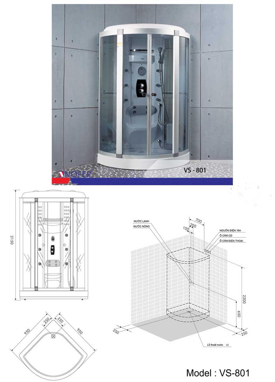 Bảng vẽ kỹ thuật phòng xông hơi VS-801