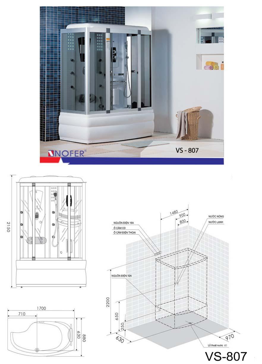Bảng vẽ kỹ thuật phòng xông hơi VS-807