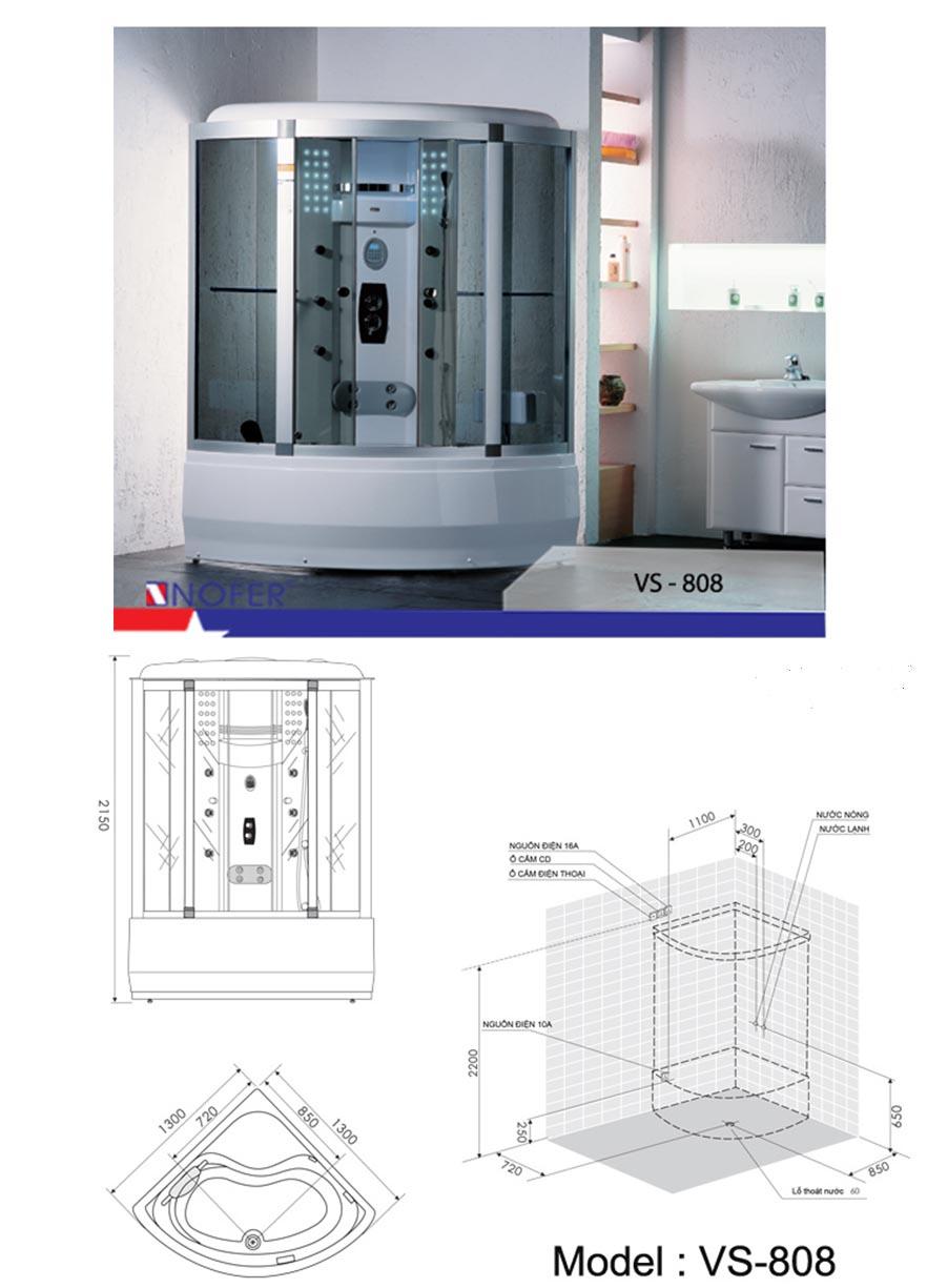 Bảng vẽ kỹ thuật phòng xông hơi VS-808