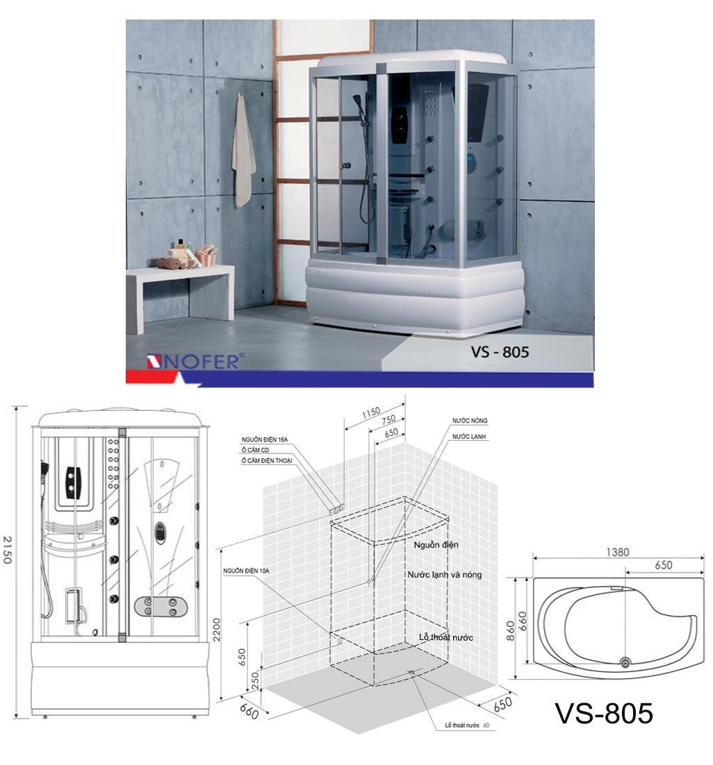 Bảng vẽ kỹ thuật phòng xông hơi VS-805