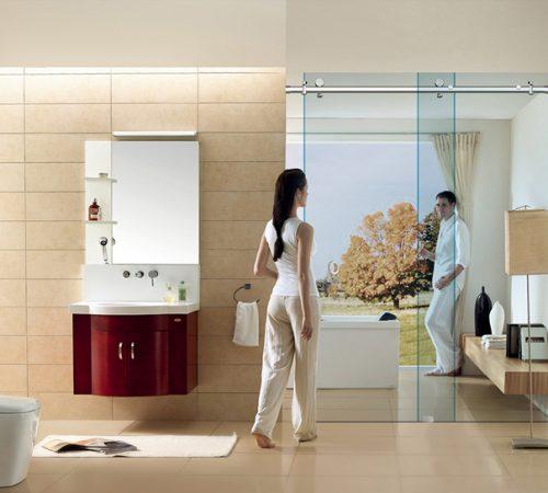 Phòng tắm vách kính cửa lùa