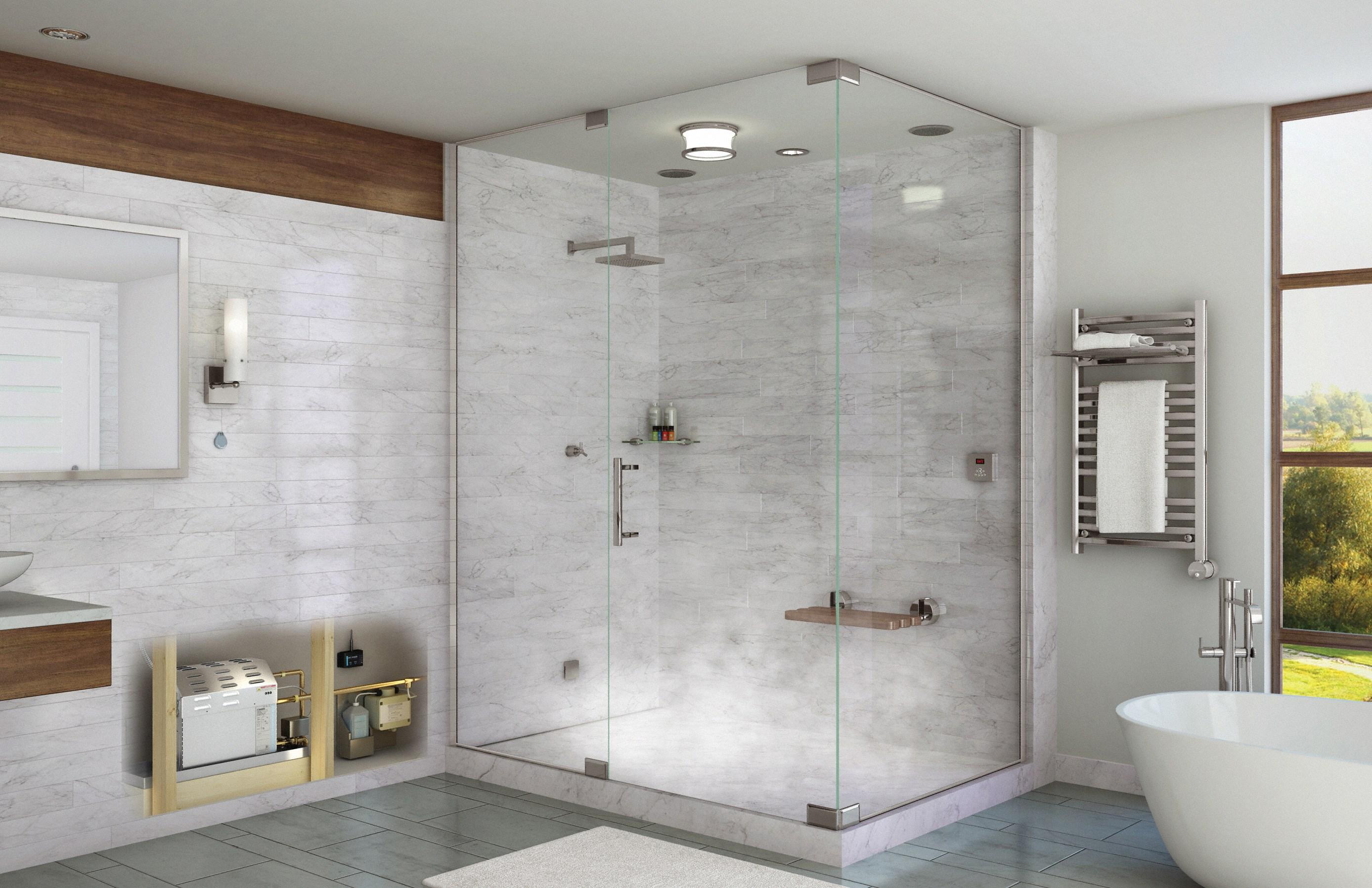 Phòng tắm vách kính 180 độ