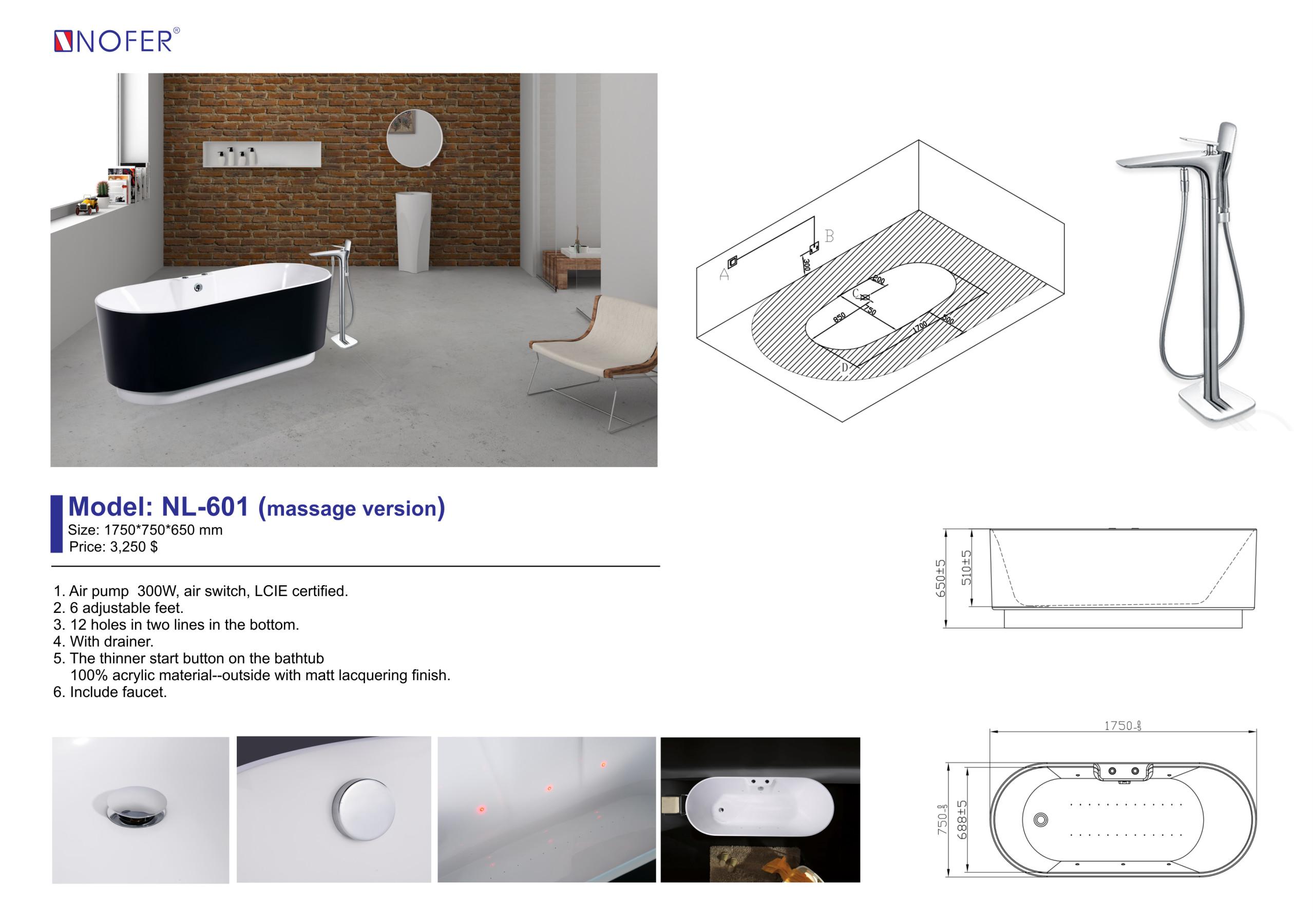 Chi tiết của bồn tắm massage NL-601