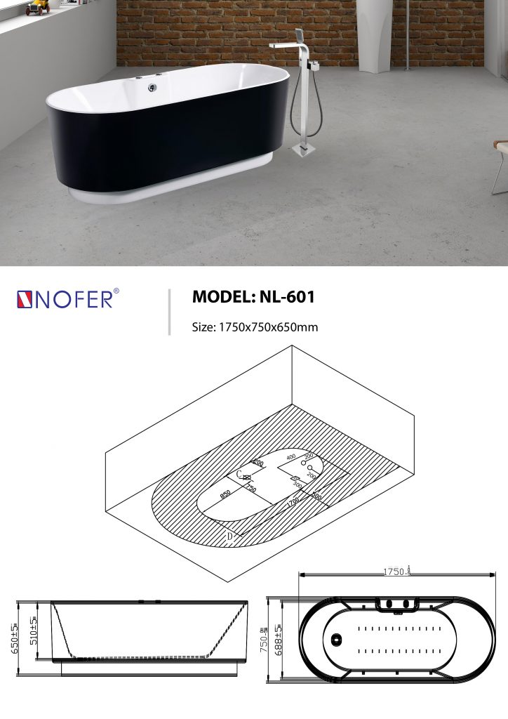 Sơ đồ kỹ thuật bồn tắm NL-601Plus