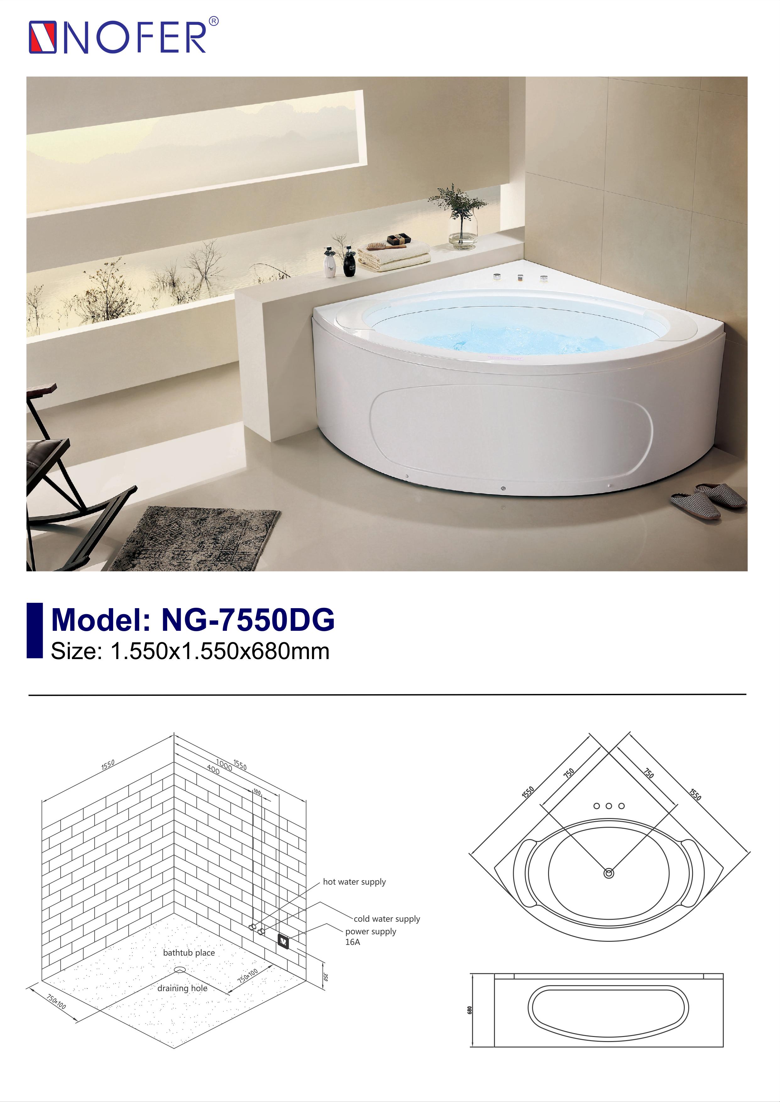Sơ đồ điện nước của bồn tắm massage NG-7550DG