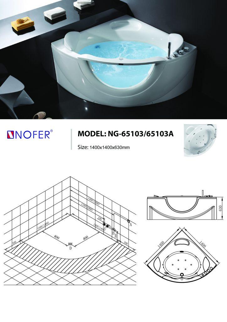 Bản vẽ sơ đồ kỹ thuật bồn tắm massage NG-65103/65103A